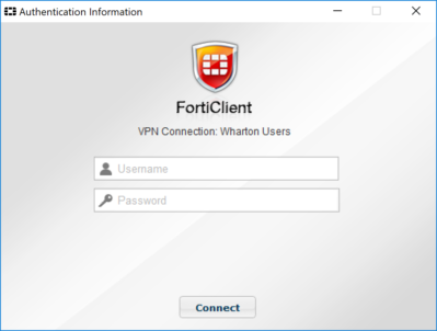 FortiClient Username and Password authentication information box