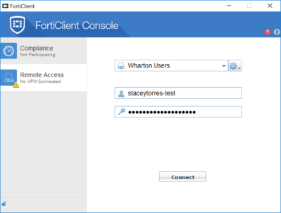 ForiClient Console IP address connection page