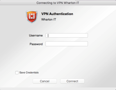 Mac VPN username and password authorization box