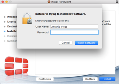 Click Install Software on Forticlient