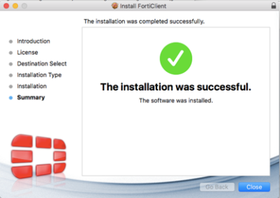 Forticlient Mac Install Successful screen