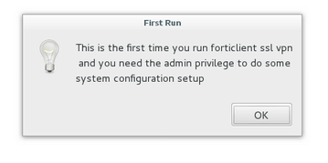 Forticlient first run experience on Linux