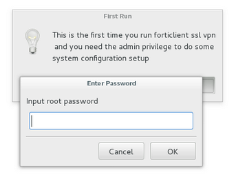 Forticlient Linux Enter your password