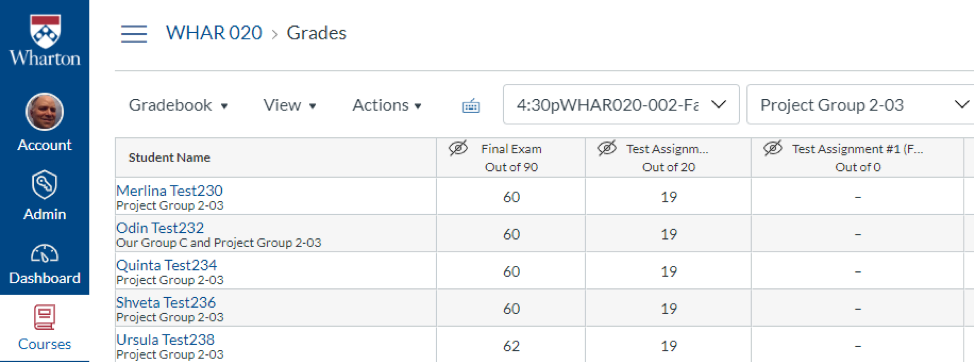 canvas gradebook showing section and group filters