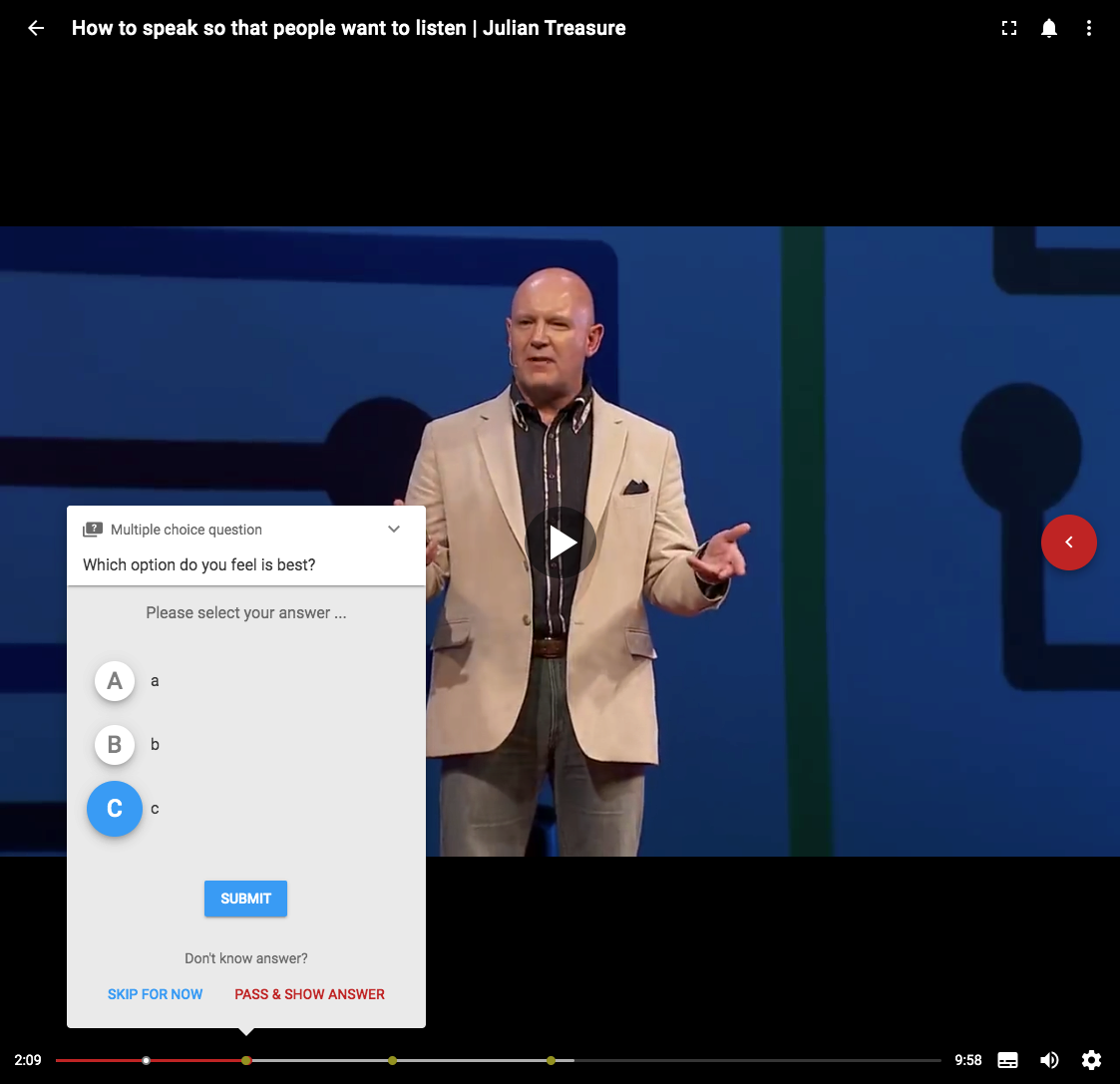 screenshot of interactive video