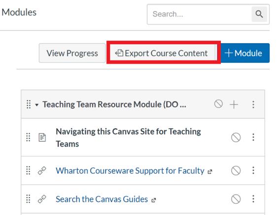 Export content button